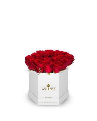 wal09w_f cutie hexagonala alba trandafiri rosii walrose