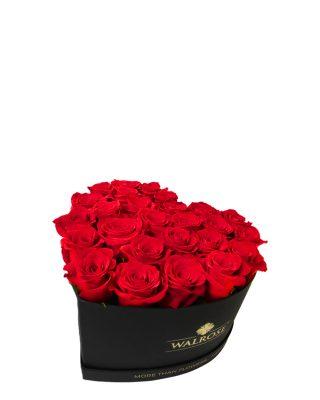 Cadou Valentine's Day Cutie in forma de inima neagra mica Walrose HearT Box Trandafiri rosii