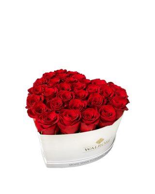 Cadou Valentine's Day Walrose cutie cu trandafiri idee de cadou cutie mare alba