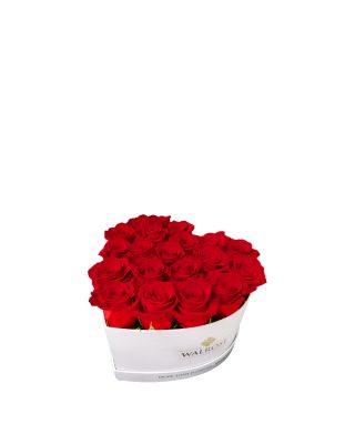 Cadou Valentine's Day Walrose cutie cu trandafiri rosii idee de cadou cutie mica alba