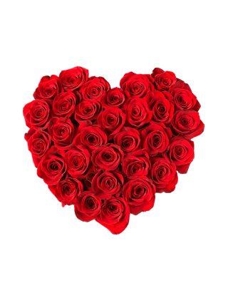 Cadou Valentine's Day Walrose cutie cu trandafiri rosii in forma de inima heart red roses livrare flori Brasov