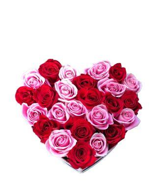 aranjament flori reandafiri roz si rosii walrose florarie brasov